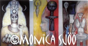 Triptych of Diana, Asiatic Lunar Mother, African Sun Goddess and Earth/Underworld Crone (oil, 2000)